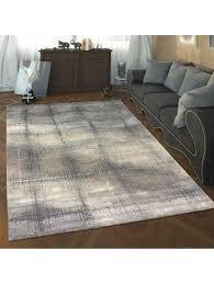 paco home designer wohnzimmer teppich hoch tief struktur karo muster modern in grau weiß klingel