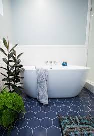 hexagon blue floor tile with white subway tile modern fresh
