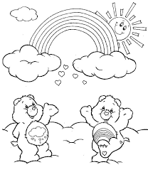 Rainbow Two Care Bears Cheering The Coloring Page