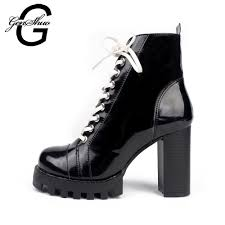 popular black patent leather ankle boots buy cheap black patent