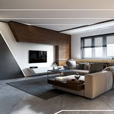 Sleek Contemporary Living Room Concrete And Wood Is A Nice