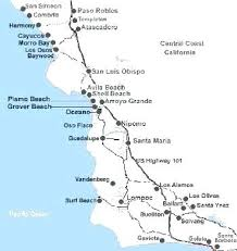 Coast Towns And Cities Map Of Central Southern California Beach
