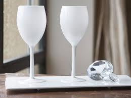 pied de le blanc verre à vin à pied en verre opaque blanc 50 cl set de 4 white