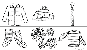 Winter Clothes Coloring Pages Preschool Sheets