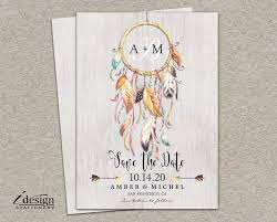 Rustic Bohemian Style Save The Date With Dreamcatcher