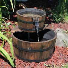 El Patio Eau Claire Happy Hour by Sunnydaze Rustic Stacked Wooden Bowls Outdoor Water Fountain 16