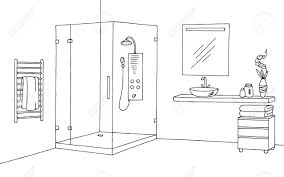 badezimmer grafik innenraum schwarz weiß skizze abbildung vektor