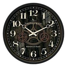 Large Gear Wall Clock Moving Gears Industrial
