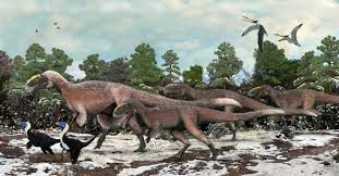 Artists Impression Of A Group Yutyrannus And Two Individuals The Smaller Beipiaosaurus Brian Choo
