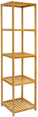 dunedesign xl bambus holz regal 162 5 x 38 x 39 5 cm 5 fächer stand regal badezimmer ablage küchen aufbewahrung badregal
