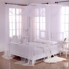 King Size Canopy Bed With Curtains by Palace Crystal 4 Post Bed Sheer Panel Canopy Walmart Com