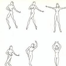 Costume Design Drawing Template Of Nude Female Dance Poses Circa 1945 55