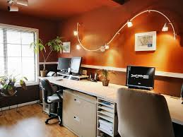 marvelous home office decoration with orange wall paint and track