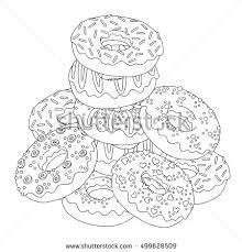 Vector Hand Drawn Donuts Illustration For Adult Coloring Book Freehand Sketch Anti Stress