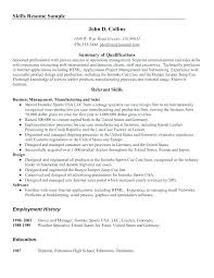 Examples For Skills On A Resume Skill Summary Good