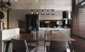 Unitary Brand Antique Black Metal Long Kitchen Island Light With 5
