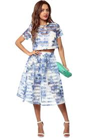 blue carnation dress set cicihot top shirt clothing online store
