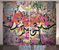 abakuhaus graffiti rustikaler vorhang surreale malerei wohnzimmer universalband gardinen mit schlaufen und haken 280 x 225 cm mehrfarbig