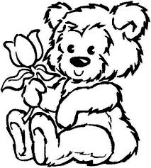 Picture Of Fluffy Teddy Bear Hold A Rose Coloring Page