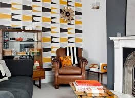 Modern Retro Living Room With Bold Geometric Wallpaper