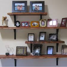 Wooden Stained Shelves With Iron Brackets This Might Look Quite Nice On A Grey Blue Wall Maybe Silver