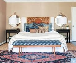 Traditional Carpet With Gold Framed Round Mirrors For Pretty Bedroom Ideas Ethnic Printed Toss Pillows