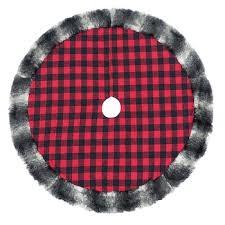 St Nicholas SquareR 48 In Faux Fur Plaid Christmas Tree Skirt