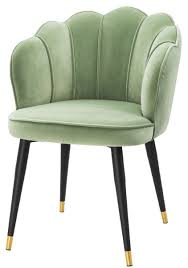 casa padrino luxus samt esszimmerstuhl mit armlehnen pistaziengrün schwarz gold 60 x 63 x h 83 cm küchenstuhl im muschelschalen design