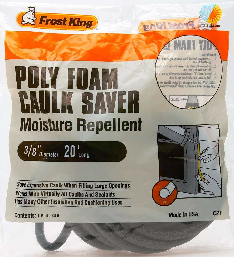 "Frost King Poly Foam Caulk Saver - 3/8"" x 20ft"