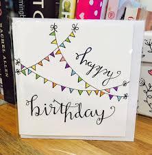 Happy Birthday Card Flag Cute White Design Handmade Drawn Pen Family Love Friend