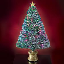 Small Fiber Optic Christmas Tree With Ornaments by The 4 U0027 Fiber Optic Twinkling Tree Hammacher Schlemmer