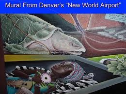 this airport with a mural of dead black woman laying in a casket