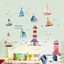 wandsticker4u wandtattoo segelboot leuchtturm i wandbild 250x190cm i wandsticker kinder schiff ozean meer see boot fische maritim möwen