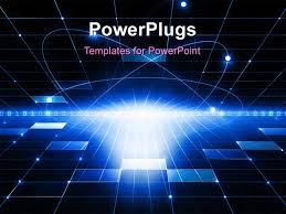 PowerPoint Template Displaying Abstract Technology Animated Background Depicting Horizon