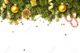 31914455 Christmas Tree Branches With Golden Baubles Stars Snowflakes Isolated On White Horizontal Border Stock Photo