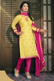 Yellow Pink Chanderi Cotton Heena Khan Suit AMAY 1002