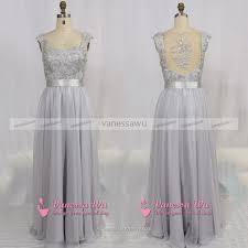 cap sleeve grey prom dress floor length chiffon prom dress prom