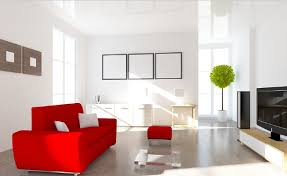 Red Sofa Living Room Ideas by Soft Red Couch In Minimalist Living Room 3d House