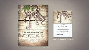 Skeleton Keys Rustic Wedding Invitations