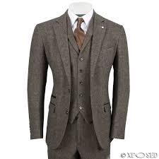 Mens Wool Mix 3 Piece Suit Vintage Herringbone