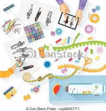 Working Table Of Fashion Designer Vector