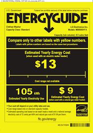 LG WM5000HVA Energy Label User Manual Guide WM5000