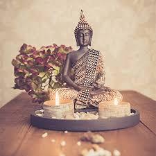 buddha sitzend mit teelicht 22cm deko statue für wohnzimmer oder bad zen garten deko figur teelichthalter orientalisch nr 1