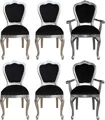 casa padrino luxus barock esszimmer set schwarz silber 6 handgefertigte esszimmerstühle 2 stühle mit armlehnen und 4 stühle ohne armlehnen