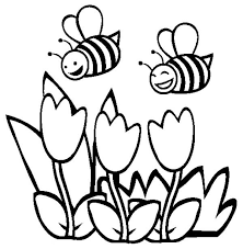 Bumblebee Two Happy Flying Over The Flowers Coloring Page