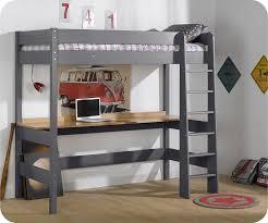 lit enfant bureau lit mezzanine enfant clay gris anthracite 90x190 cm avec matelas