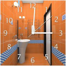 uhr modernes badezimmer in orange mit blauen fliesen wallario de