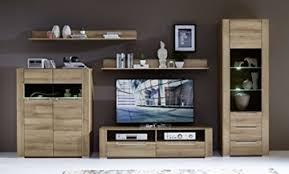 wohnwand wohnzimmer set dinaro 5 tlg sideboard vitrine wandboard tv regal riviera eiche hell led beleuchtung