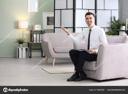 Young Male Psychologist Office — Stock Photo ... Dcor Ideas For Therapists Offices Lovetoknow Sofa Vector Transparent Background Png Cliparts Free Psychologists Office Interior And Props 3d Model In Hall 3dexport How Do These Curtains Make You Feel The Science Of Psychologist Room With Couch Armchair Window Fniture Iconic Eames Style Lounge Chair Add Clainess To Traditional Appeal Your Home Using Best Koket Envy Chaise 2019 Design Youd Be Surprised To Know What Choice Of Says