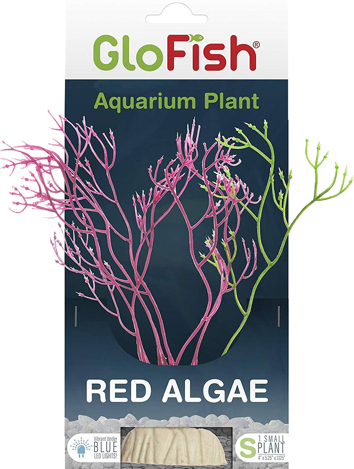 Glofish Red Algae Plant Fluorescent Under Blue LED Light Aquarium Decor, Medium